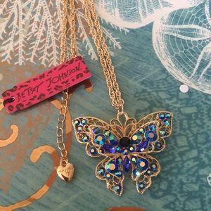 Betsey Johnson Rhinestone Butterfly Necklace